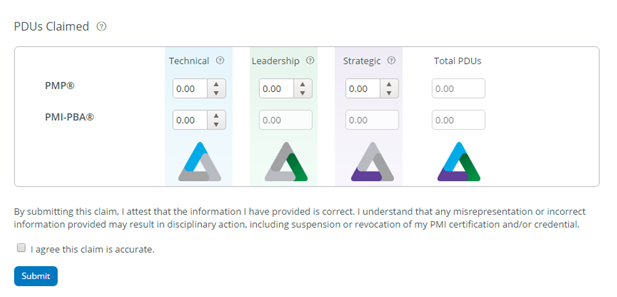 PDUs for the relevant category of Talent Triangle