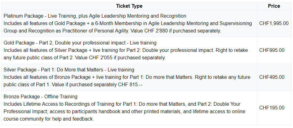 Personal Agility Price List