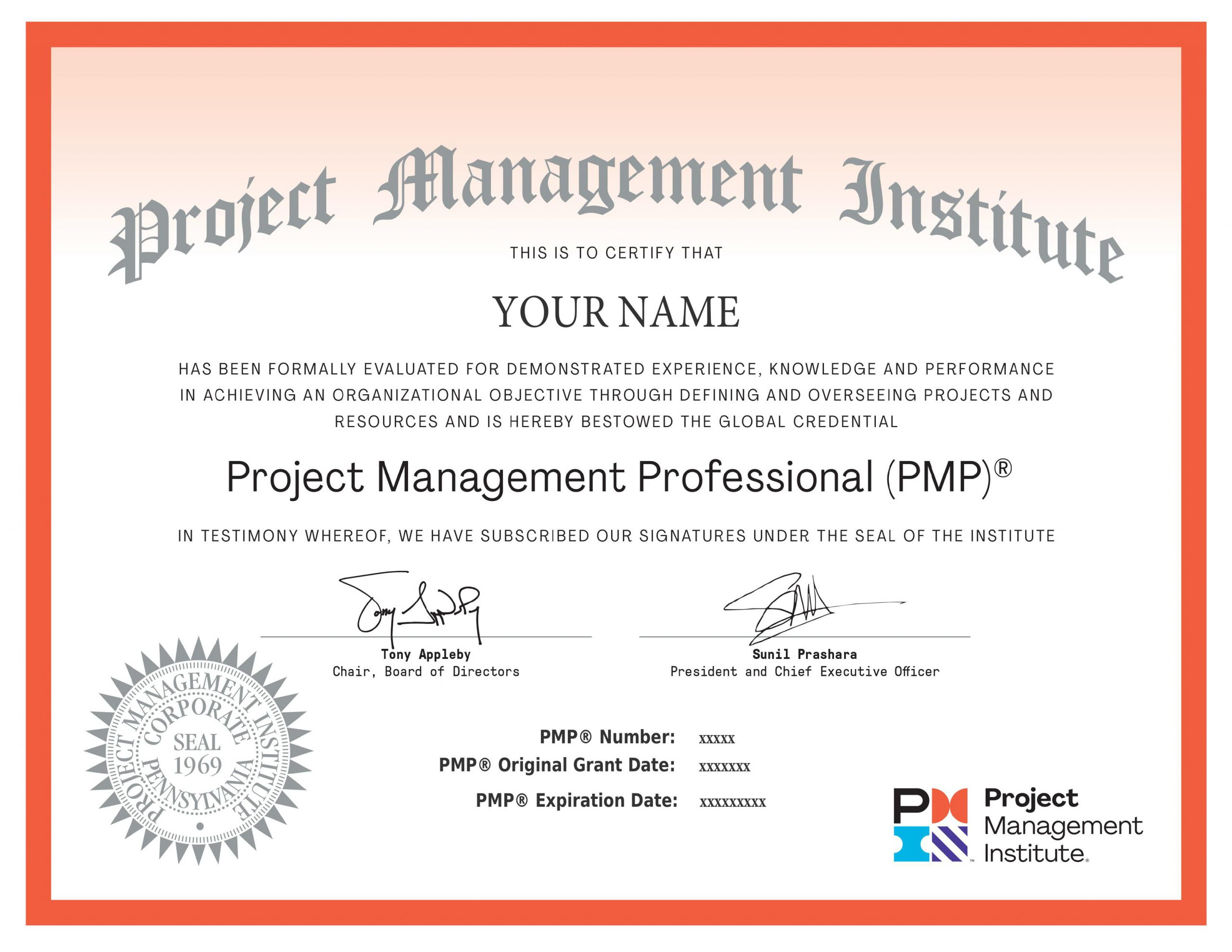 PMP Sample Certificate